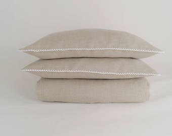 Linen Bedding  Queen Size  Natural Linen - duvet cover and pillowcases
