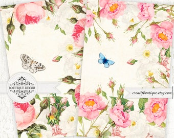Vintage Roses Cards, Scrapbooking/Decoupage paper. Set of 2. Digital download for scrapbooking and packaging.