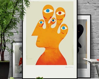 We came in peace. Original illustration art poster giclée print signed by Paweł Jońca.
