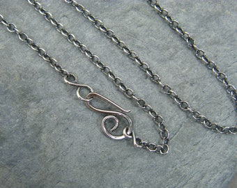 Sterling silver chain ~ Silver necklace ~ Antique silver trace chain ~ Jewellery making supplies ~  Handmade clasp ~ Fine silver chain ~