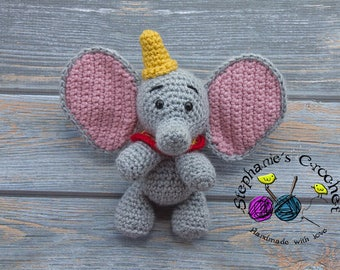 Crochet dumbo doll, soft and plush doll, Soft Toy Doll, Plush Toy, Stuffed Toy dumbo, Soft Toy, elephant, Dumbo, Amigurumi toy-Made to Order
