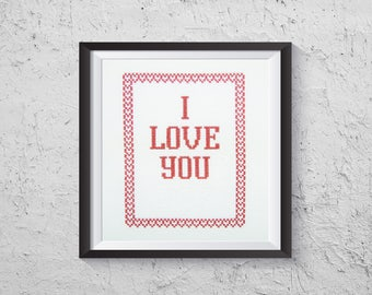 I Love You Secret Message Cross Stitch - Modern Cross Stitch PDF - Instant Download