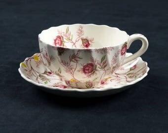 copeland spode rosebud chintz cup u0026 saucer set vintage bone china england interior design
