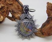 Purple Labradorite Pendant - Wire Wrapped Jewellery - Filigree Jewellery - Sunburst Necklace - Amethyst Jewellery  - Filigree Pendant