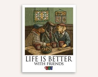 "Irish Coffee ""Life Is Better"" Labrador Retriever Print Poster 11""x14"""