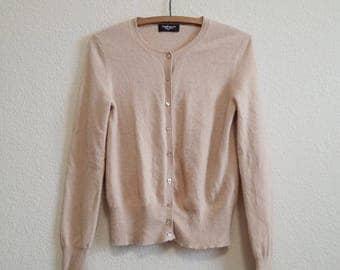 Beige Cashmere Cardigan Sweater Petite
