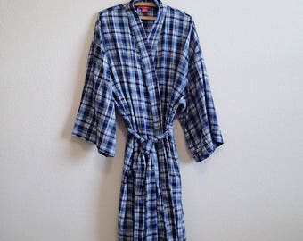Soft Blue Plaid Flannel Robe Izod - One Size - Attached belt