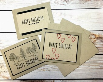 Rustic Birthday Card Set, Birthday Greeting Cards, Handstamped, Handmade, Neutral Happy Birthday Cards, Blank Inside, Kraft Stationery