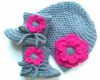 set baby girl booties and hat, baby, baby wool hat handmade crochet