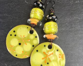 Margaritas, Enameled Copper Dangle Earrings, Rustic Lampwork Glass, Citrus Earrings, Rustic Earrings, Boho Tribal