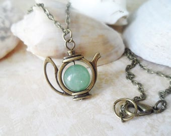 FREE SHIPPING! Mad hatter teapot necklace with a green aventurine crystal pearl, vintage style brass, Alice in Wonderland, Selma Dreams
