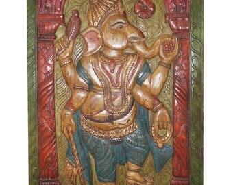 Antique hand carved Ganesha Barn Door Muladhara CHAKRA  Panel, Wall Decor Sculpture FREE SHIP Early Black Friday