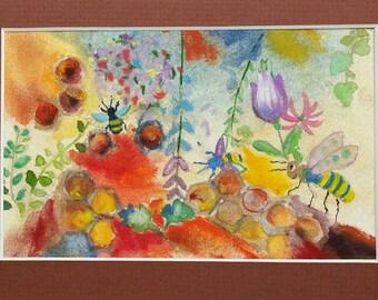 Bees, Honeycomb, and Bees Wearing Polka Dots - original watercolor painting