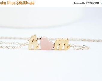 Script Letter Necklace, Initial heart necklace, Couples necklace, Initial Necklace, Gold Necklace