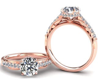 Rose Gold Moissanite Ring 1.00 Carat Forever One Moissanite Ring Set With Natural Diamonds In 14k or 18k Rose Gold SJW2MOISR