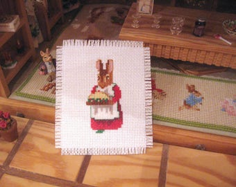 dollhouse christmas mrs rabbit cross stitch rug / runner embellishment beatrix potter 12th scale