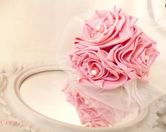 Pink and ivory wedding bridesmaid bouquet
