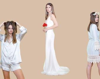 BRIDAL ATTIRE | Wedding Dress | Pure Silk Pajamas | | Stylish Silk Robe | Gorgeous Venice Lace Trim | Silk or Poly Blend in Beautiful Colors