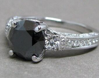 Black Diamond Engagement Ring Round Cut 3 Stone Diamond 18k White Gold Wedding Bridal Ring Vintage Style