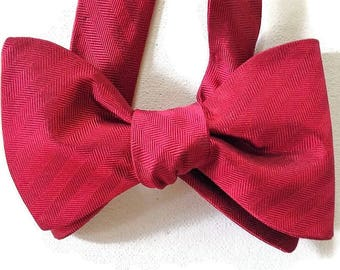 Silk Bow Tie for Men - Classic Red - One-of-a-Kind - Handcrafted, Self-tie - Free Shipping