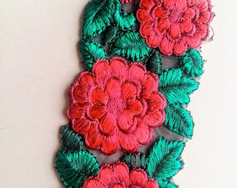 Black Fabric Trim With Red And Green Floral Embroidery, 50mm wide - 200317L332