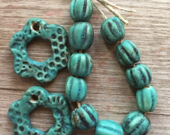 Ceramic Bead Set - Hand Formed Ceramic Beads Turquoise Jewelry Components DIY Jewelry Making - Boho Jewelry Supplies  Artisan Components