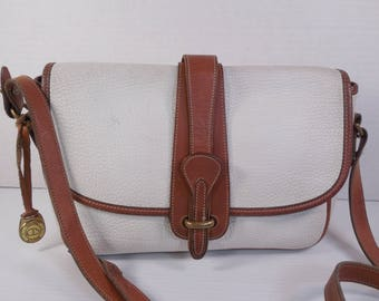 Vintage Dooney And Bourke Purse Handbag Pebble Beige Ivory Cream Off White Light Taupe Khaki British Tan Brown Leather Crossbody Shoulder