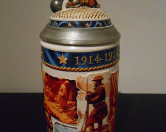 Collectors World War I Stein Anheuser Bush Budweiser, US Military Beer Stein, Collectible Beer,