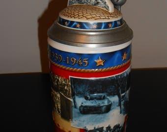 Collectors World War II Stein Anheuser Bush Budweiser, US Military Beer Stein, Collectible Beer,