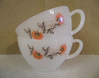 Fire King tea cups, Fleurette pattern, 1960s, milk glass