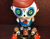 Dancing Skeleton Ornament / Day of the Dead Decoration / Dia-De-Los-Muertos-Calaca / Folk Art Catrin Doll / Solar Powered Adornment