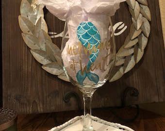 Hand Painted Mermaid At Heart Wine Glass