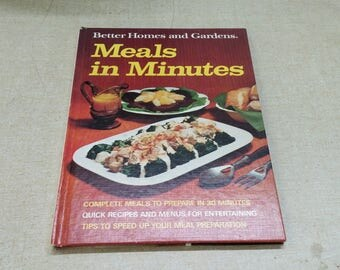 On Sale 1973 Better Homes and Gardens Meals in Minutes Hardback Cookbook Vintage Kitchen