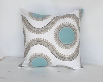 Greige and teal pillow cover