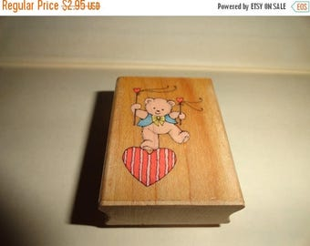 50% OFF 1991 Balancing love bear stamp 2 in by 1.5 inch Vintage Wooden rubber stamp