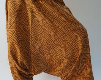 HC0470 Aladdin Pants, Harem Pants 100% Cotton Harem Pants Unisex Low Crotch Yoga Trousers