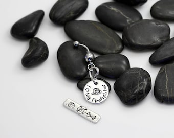I Love My Firefighter Hand Stamped | Custom | Belly Ring