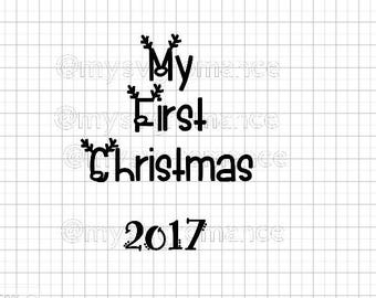 My First Christmas 2017 SVG - Reindeer Antlers - Rudolph Nose - Cutting File - Cute Font - Cricut - Cameo