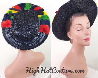 Vintage 1940s Hat / Wide Brim Hat / Halo / Straw / Colorful feather trim