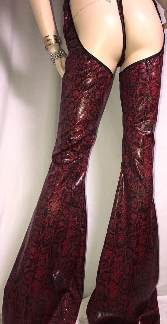 Red Snake skin Flare Leg CHAPS Fantasy Festival Pants Coplay