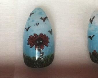 Handpainted false  nail set