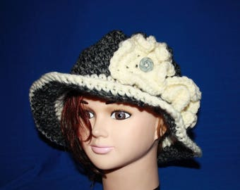 Hat in Grey Heather and cream rim with flowers