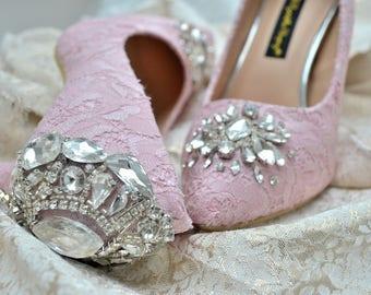Swarovski Crystal Vintage Court Blush Princess Baby Pink Velvet Lace & crystal Back high Heel bridal shoe