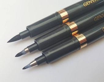 Set of 3 Brush Pens - Calligraphy Writing Pen - Fine Medium Bold - Black Ink