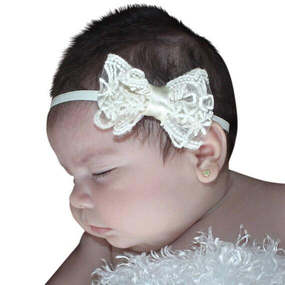 Baby Bow Headband, Beige Bow Baby Headbands, Baby Girl Headband, Infant Headbands, Babies Headbands, Lace Headband, Christening Headband