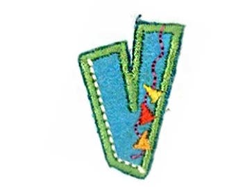 Fusible embroidered alphabet letter V sold individually
