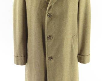 Vintage 50s Nubby Fleck Overcoat Mens 38 Wool Brown USA Union Made [H60J_3-4_Long]