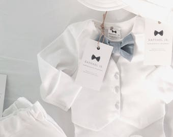 Baby boy Baptism White vest onesie outfit with matching white/blue or grey bow tie and trousers or shorts