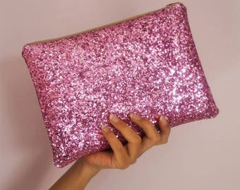 Dusty Pink Glitter Clutch Bag, Sparkly Light Pink Clutch, Pastel Pink Glitter Clutch Bag, Pink Glitter Bag, Sparkly Evening Bag,