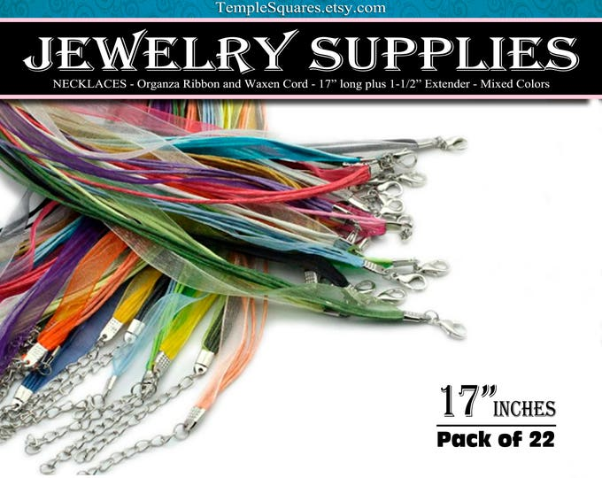 Pack of 22 NECKLACES - Mixed Colors Organza Ribbon and Waxen Cord. DIY Craft Jewelry Supplies Wholesale. 17 inches long. YW